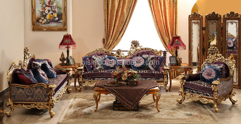 Baroque Style Living Room Sofa Set Retro Wood Carving