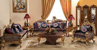 Baroque Style Living Room Sofa Set, Retro Wood Carving Living Room Furniture, Whole Set Gold Leaf Palace Furniture