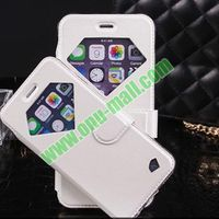 Luxury Shell Design Shinning Star Flip Leather Case for iPhone 6 with Diamond Window for Call ID Display