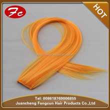 Single Clip In On Colorful Hair pieces Remy Indian Straight Hair Extensions Orange 1PCS