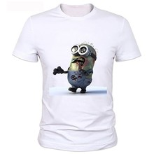 Customize Solid T Shirt Men zombie Minions and the walking dead Funny School Men T Shirts Regular Style wholesale clothing
