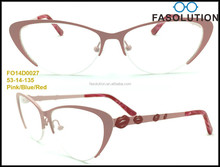 2015 New Metal (Stainless Steel) Optical Frames for Women/High-End Ultra-thin Fashion Eyewear/Cat Eye Shape