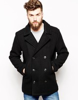 Professional custom fashion wool blend double-breasted men's coat 2014