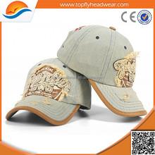Distressed denim baseball cap/wholesale custom baseball cap hat/ high quality baseball cap with embroidery logo cap