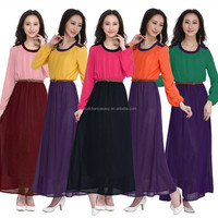 G01-3 Malaysia Indonesia and European style Muslim new contrast color O-neck long sleeve casual dress woman lady dress