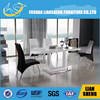 Shunde liansheng newest design glass top dining room table with stainless steel frame