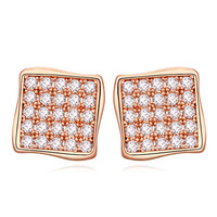 Fashion Jewelry Top Selling Beautiful Square Shaped Micro Paved Setting Charm Earrings