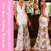 White Fashion V Neck Lace Maxi Woman Evening Party Dress with Slit