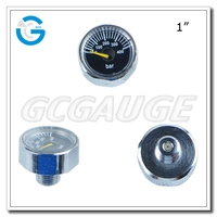 "High quality brass chromed body spiral tube 1 "" high pressure gauge"