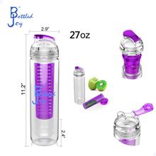 purple color private label water bottle with fruit,fruit water bottle infusers factory