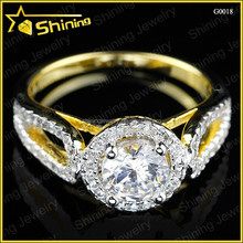 noble style wedding silver women rings14k gold plated gold ring
