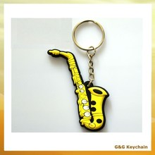 3D Soft PVC Musical Instrument Saxophone Keychain China Supplier DD 016