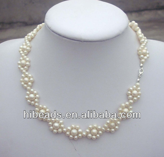 2013 fashion design floral pearl necklace handmade jewelry