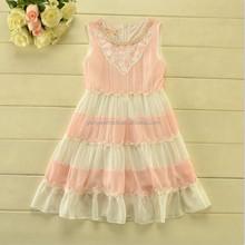 Lace Boutique Girl Party Dress Layered Ruffle Kids Dress Pearls Stock 5pcs 2015
