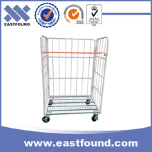 Supermarket hand push folding metal wire mesh roll container