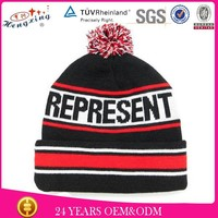Cool funny winter wool custom knitted pom womens winter hats