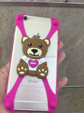 hot selling cute cartoon design universal silicone cell phone bumper for size 4-6 inch