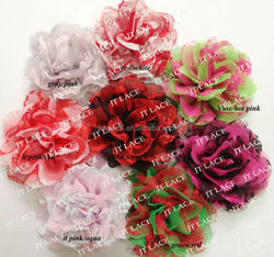 Wholesale Chiffon Lace Flowers Chiffon Fabric Flowers Applique