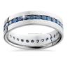 14k White Gold Channel Set Blue Diamond Men's Band Ring for Wholesale