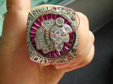 black hawks championship ring replica with custom shape ruby setting by hands.
