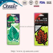 Green leaf hanging printed car air fresheners/scent air