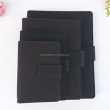 Factory Promotional Leather Cover Notebook by PU Leather Hold Cards,Pen And More Function