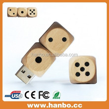 special design dice shape wooden USB Flash drive