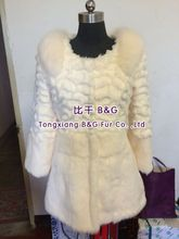 BG70543 Ladies New Fashion Long Rabbit Fur with Fox Fur Coat