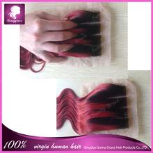 Moda ombre rojo base de seda del pelo con la onda del cuerpo base tamaño 4 * 4 seda base cierre de seda base closure
