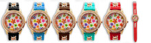 Geneva flower printing Chain Accented Designer diamond Style women Silicone Watch