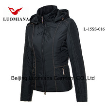 Short middle age Women down/feather jacket Luomiana OEM servise microfleece jacket