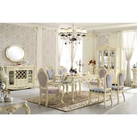 Wholesale White Lacquer Rococo Luxury Dining Table Prices