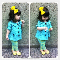 SFK150706 2015 New Style Baby Girl Child Clothing Sets 2 Pieces Long Coat And Pants Suits