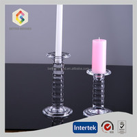 clear glass Long stem tall stained glass stand candle holder