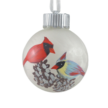 6cm Handpainted glass ball hanging ornaments with folk art birds