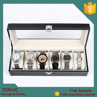 New Wrist Watch Display Storage Organizer Box Container 6 Cell Leather Windowed Case