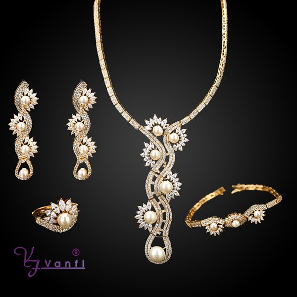 fashion 18k gold philippines pearl necklace costume set
