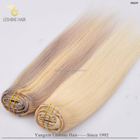 OEM package remy cheap double drawn double weft cheap one piece full head clip in human hair extension