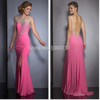 Elegant Sheer Scoop Neckline Beaded Long Mermaid Evening Dresses 2015 with Side Slit High Quality Prom Party Gown