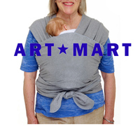 Baby Wrap Carrier - LIFETIME GUARANTEE - Grey Baby Wrap - ALL NATURAL BABY CARRIER- One Size Fits All