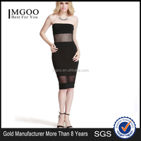 MGOO New Arrival 2016 Black Homecoming Dress Strapless Bodycon Transparent Dress Knee Length For Women D382