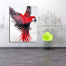 Realistic Style Handsome Abstract Animal Handmade Canvas Parrot Oil Painting