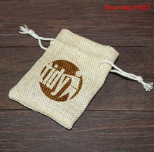 High quality printed small jute drawstring pouch