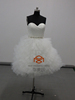puffy sexy short wedding dress HMY-D481 China alibaba suppliers tulle fabric white bridal embroidered ruffle short wedding dress