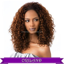 afro best selling full lace black hair bun front lace brazilian hair curly female lace front silk top short braid synthetic wig