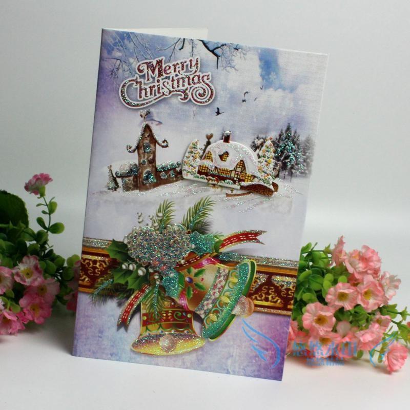3D карты рельефы окрашены приветствие Блестящие Новогодняя открытка с конвертом для детей и друзей, благословение подарочная Новогодняя открытка