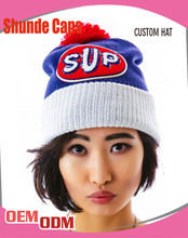Embroidered Knitted Beaenie Hat with Pom Pom/Design Your Own Logo Beanie