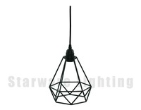 Restoration Hardware lighting Loft vintage Industrial Pendant Lamp Diamond cage Fabric black wire light