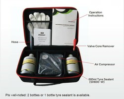 Tyre sealant repair kit with air compressor