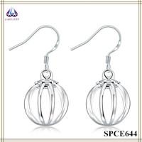 Wholesale Jewelry Silver Hollow Lantern Shape Pendant Earring